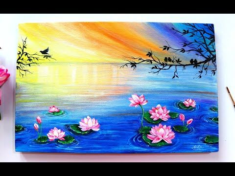 Step By Step Floating Lotus Painting Tutorial For Beginners Using Acrylic Colours Youtube Flower Painting Canvas Lotus Painting Easy Canvas Painting