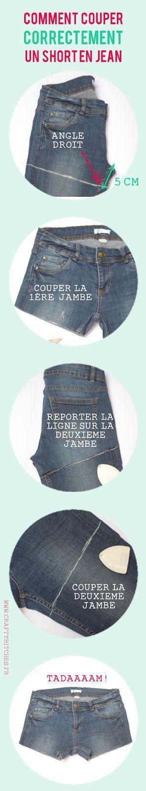 Crafty Bitches - Blog DIY, Couture, Déco, Vintage. Tuto couture, Do it yourself, décoration, rétro.: Comment couper un short en jean (sans faire de massacre)  ♥ #epinglercpartager