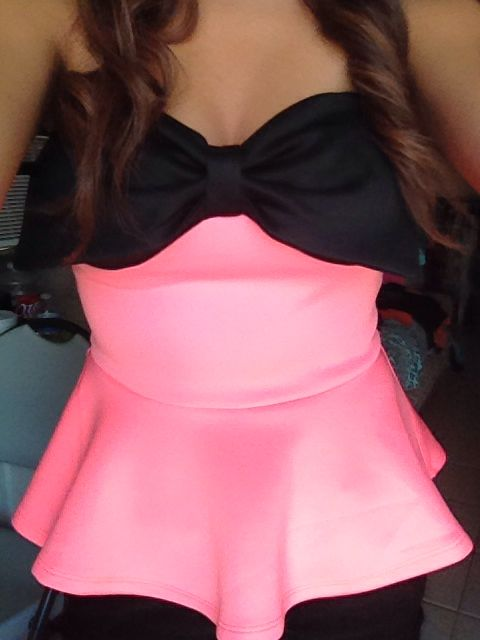 Peplum & bow top I wore for my birthday:)