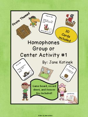 Homophones Pirate Themed Center Game from literature4u on TeachersNotebook.com -  (11 pages)  - Homophone Activity for Centers