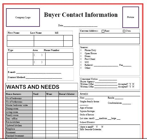 New Buyer Questionnaire | Real Estate Forms | Pinterest | Real ...