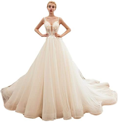 Yuxin Womens High Low Lace Wedding Dresses V-Neck Sleeveless Open Back Bridal Gowns