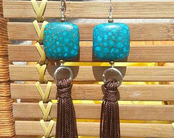 Tassel Earrings/Sexy  Long Chrysocolla Tassel Earring- Brown Vintage Diesel Tassel- Handmade Long earrings
