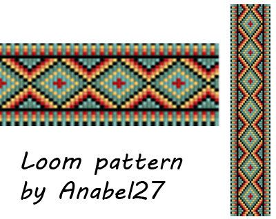 Pattern made with size 11/0 Miyuki Delica seed beads Approx width: 1.42 (25 columns) Approx length: 6.48 Technique: Loom or Square stitch Colors: 6