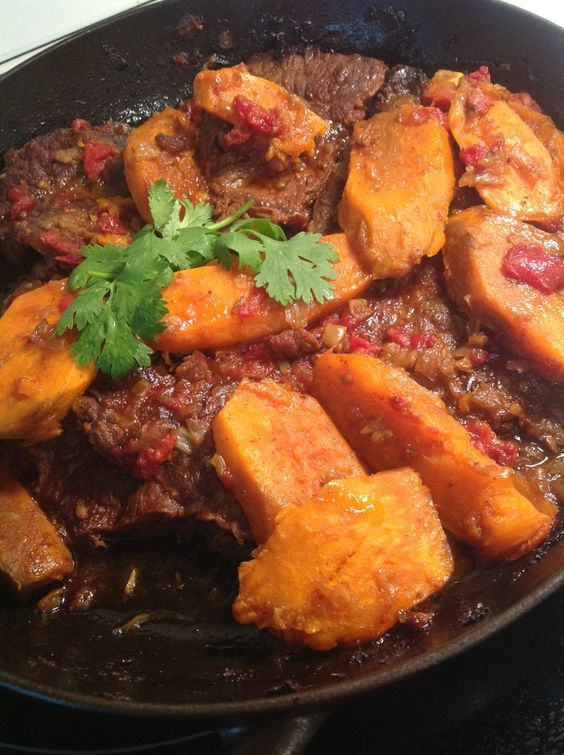 Beef tagine with sweet potatoes Melting tender slow cooked chuck roast with sweet potatoes. Easy and delicious!