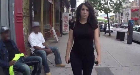 A video that shows a woman being pestered by men on the streets of New York has gone viral, sparking renewed debate about harassment endured by women and minority groups.