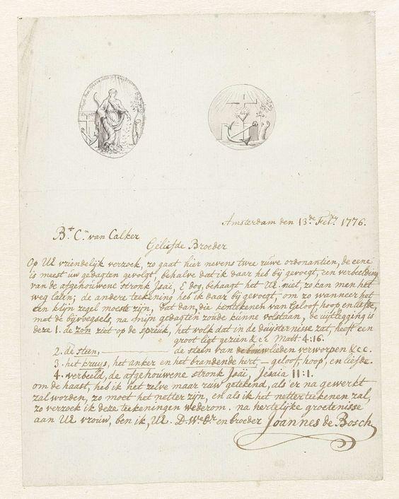 Johannes de Bosch | Brief met twee ontwerpen voor allegorische vignetten, Johannes de Bosch, 1776 |