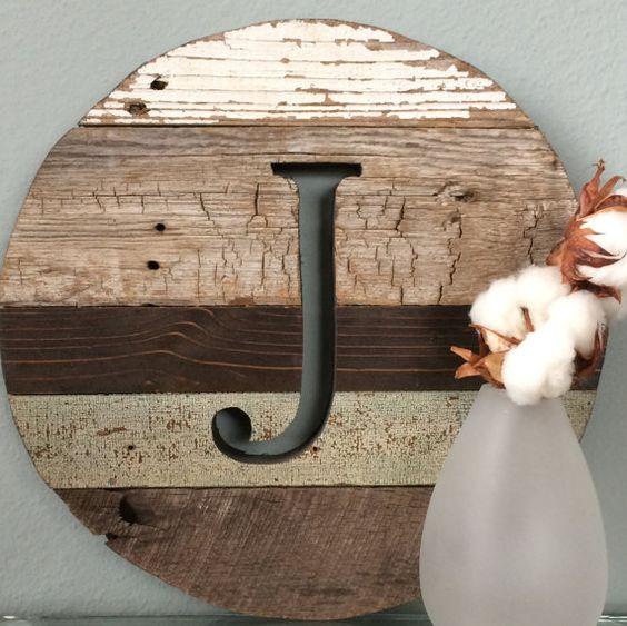 """Letter J Wall Art 12"""" Round Letter J Barn Wood Reclaimed Wood Monogram Wall Art"""