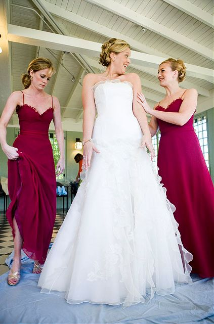 I'm more into shorter dresses but this deep raspberry/sangria color is interesting #bridesmaids