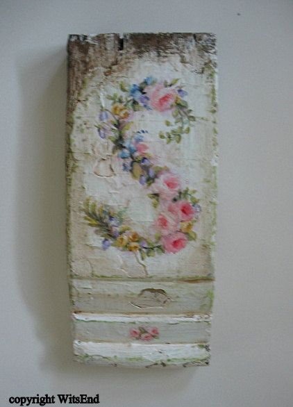 Personalized initial painting made of choice of flowers original ooak on antique architectural plinth. 65 dollars Etsy.