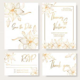 Download Floral Wedding Invitation Card Vectors Set For Free Floral Wedding Invitations Floral Wedding Invitation Card Wedding Invitation Cards
