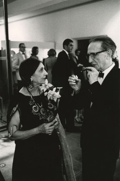 Julian Wasser | Marcel Duchamp and Beatrice Wood at the opening reception of a Duchamp Retrospective. Pasadena Art Museum, CA. 1963