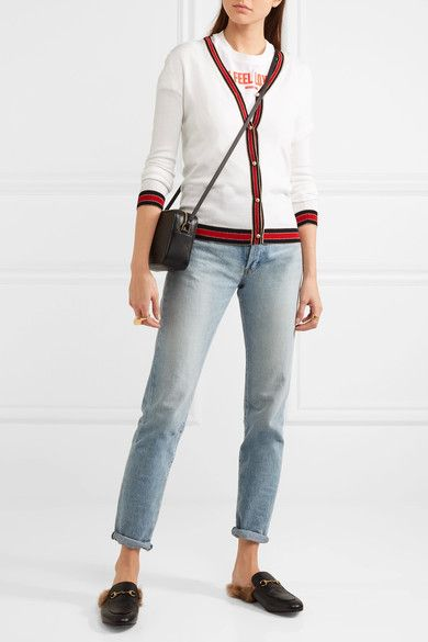 GUCCI pretty Striped white wool cardigan