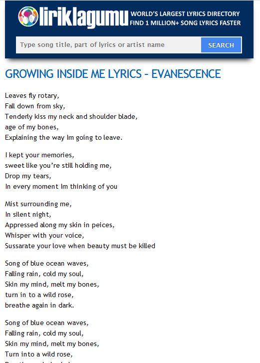 GROWING INSIDE ME LYRICS - EVANESCENCE http://www.liriklagumu.com/4591320/growing-inside-me-lyrics-evanescence/
