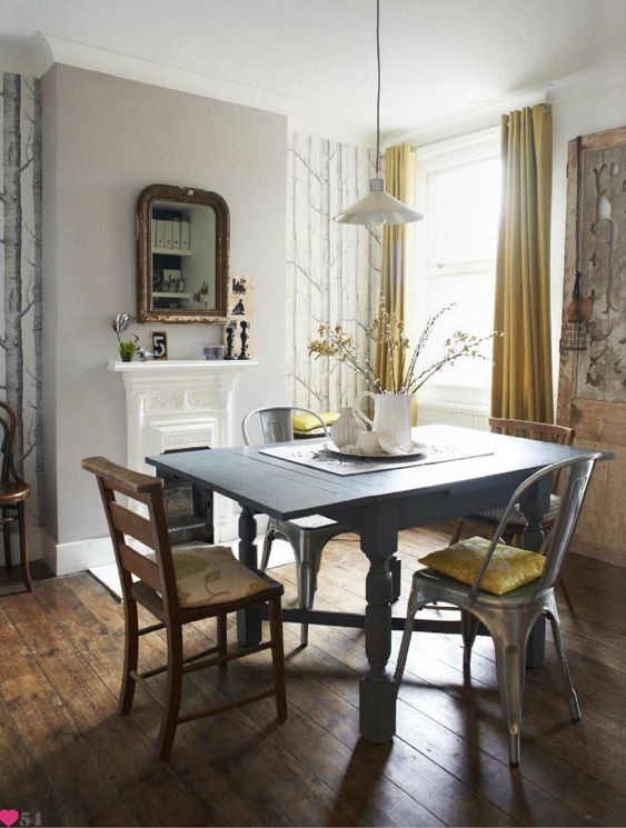 love the greys white and yellows in this space.
