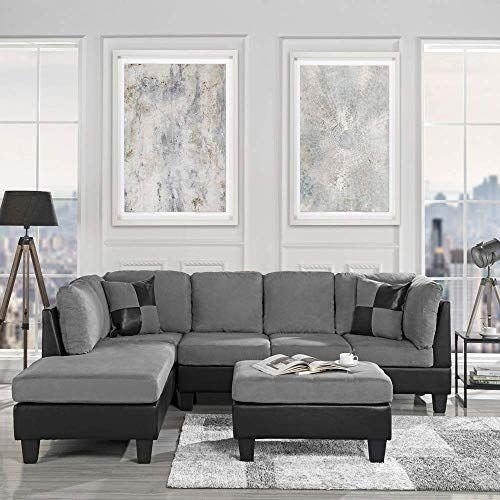 Enjoy Exclusive For 3 Piece Modern Reversible Microfiber Faux Leather Sectional Sofa Set W Ottoman Grey Online In 2020 Faux Leather Sofa Ottoman In Living Room Leather Living Room Set