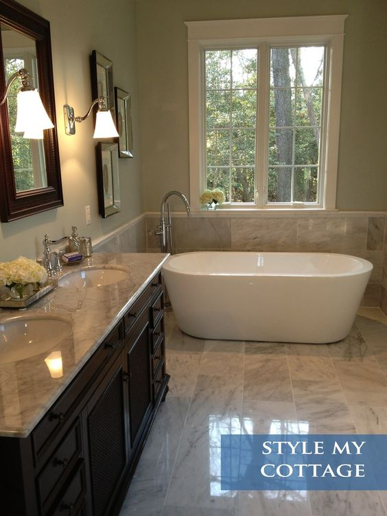 Master Bathroom Light Grey Granite Dark Cabinets And
