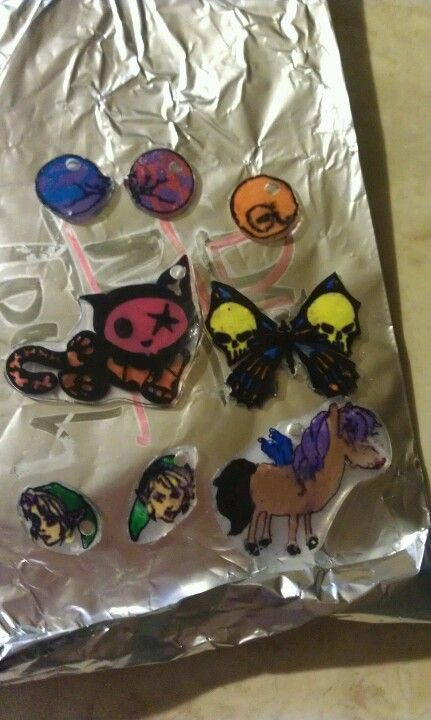 My daughter made these shrinky dink charms out of a take out container.