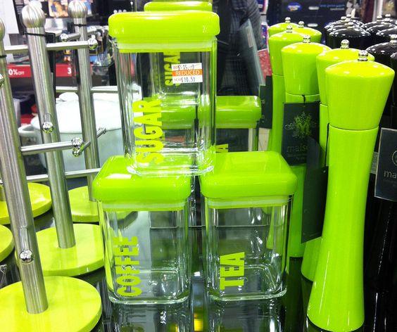 Green kitchen accessories green kitchen pinterest for Lime green kitchenware