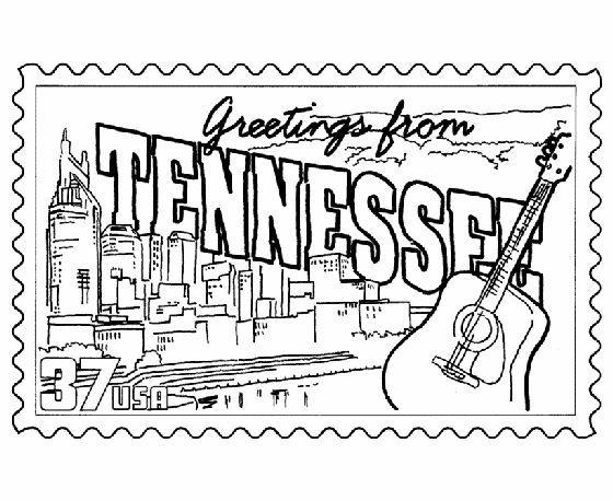 Tennessee State Stamp Coloring Page Tennessee Crafts Coloring