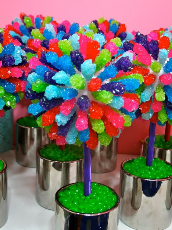 Candy land themed tables centerpieces mitzvah