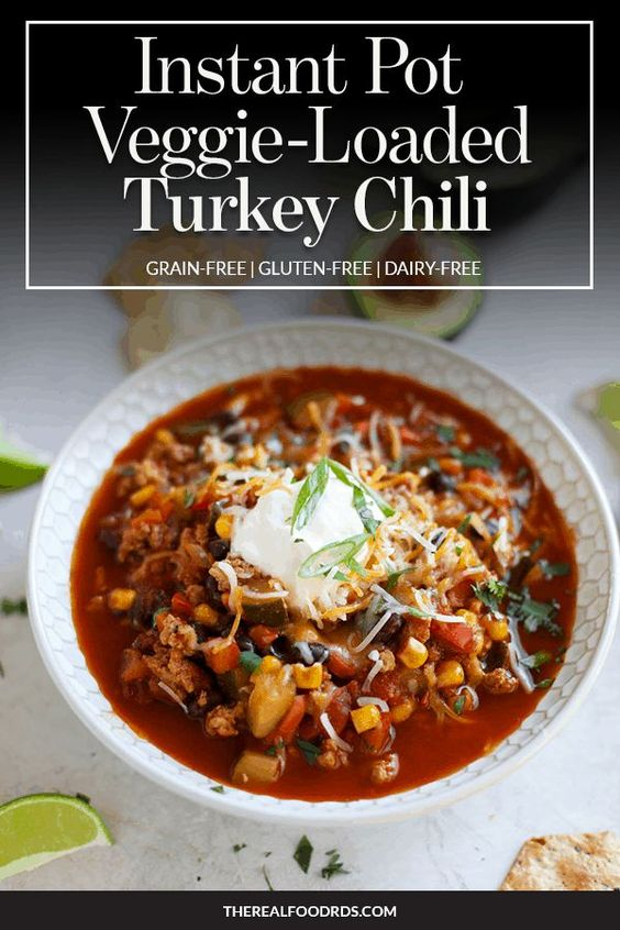 Instant Pot Veggie Loaded Turkey Chili | Instant Pot Veggie Loaded Turkey Chili brings that slow-simmered flavor to the table without the wait. A delicious gluten-free recipe to warm you on a cold, winter night. The perfect instant pot recipe that everyone is sure to love. || The Real Food Dietitians #instantpotrecipes #chilirecipes #glutenfreerecipes #iprecipes #therealfoodrds