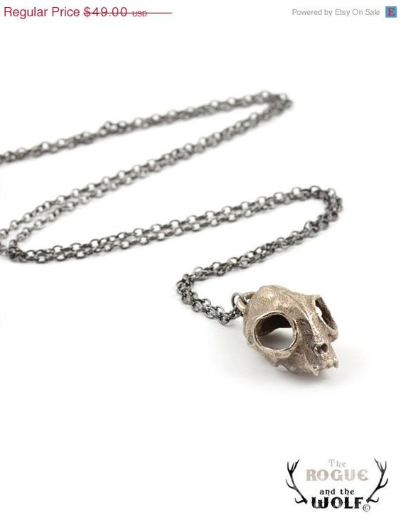 30% OFF SALE -- Cat Skull Necklace, skull necklace, rock chic necklace, cool fashion jewelry, animal skull, kitten skull pendant, statement