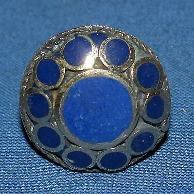 "Ring Lapis Circle Afghan Kuchi Tribal Alpaca Silver 1"" Size 7 to 11"