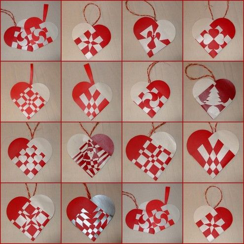 Julehjerter- the Christmas heart. These are everywhere, even on grocery bags at christmas time in Denmark! They're just simple woven hearts, credited to the famoud Danish fairy tale author Hans Christian Andersen.People hang these on trees and walls and just about anywhere else they can think of.: