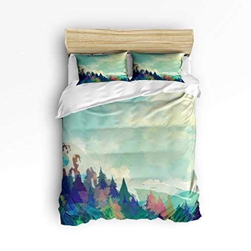 3 Piece Bedding Printed Duvet Cover Set Queen Watercolor Forest Hotel Quality Luxury Plush Microfibe Bed Duvet Covers Duvet Cover Sets California King Bedding