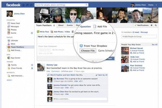 Usuários do Facebook poderão compartilhar arquivos enviados ao Dropbox e torná-los públicos para as pessoas de um grupo, conforme acordo anunciado nesta quinta (27). A função será disponibilizada aos poucos e será bem simples de usar: para adicionar um arquivo, bastará clicar em uma opção que estará disponível para os grupos. Na INFO Online, por Vinicius Aguiari.
