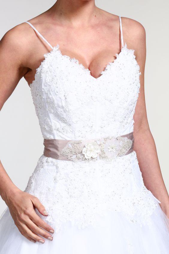 Ceinture de mariée avec fleurs perlées taupe - Tati