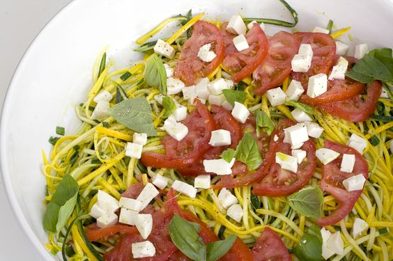 """Summer """"Noodles"""" of Yellow & Green Zucchini with a Cool Basil Oil Tomato Sauce"""