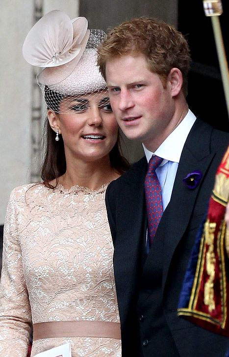 Catherine, Duchess of Cambridge and Prince Harry depart the Service of Thanksgiving at St Paul's Cathedral as part of the Diamond Jubilee, marking the 60th anniversary of the accession of Queen Elizabeth II on June 5, 2012 in London, England.