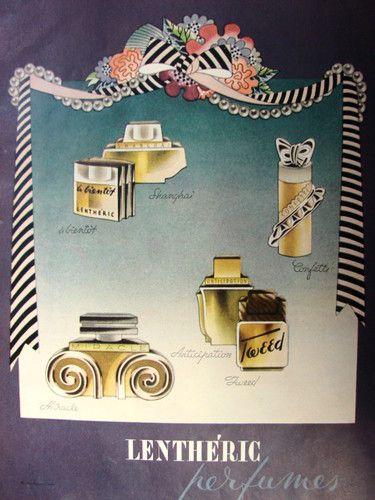 1945 LENTHERIC A Bientot Shanghai Miracle Tweed Bottles Perfume Vintage Print Ad