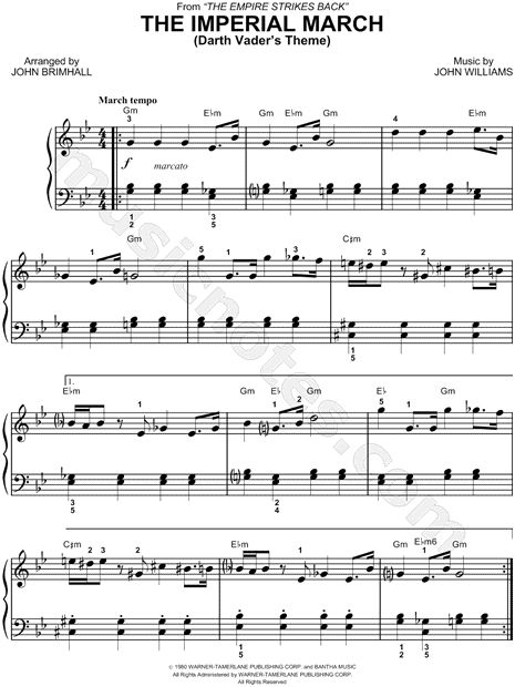 """Free Star Wars """"The Imperial March"""" Sheet Music"""