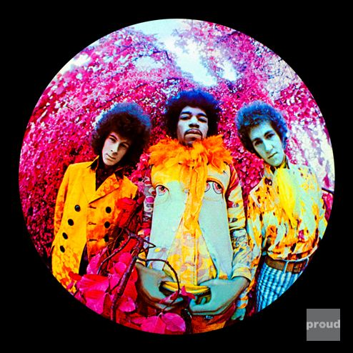 The Jimi Hendrix Experience on the 'Are YouExperienced' Album Cover, 1967  photo by Karl Ferris  His most notable collection of photographs are those capturing Jimi Hendrix and The Jimi Hendrix Experience in what is now known as a psychedelic style. Hendrix invited Ferris to shoot a US version of his album 'Are You Experienced?' where upon Ferris began experimenting with colour and lens applications. The use of a fisheye lens and infrared film created a never before seen effect