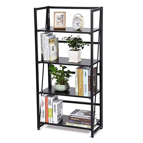 Zh Life Folding Storage Rack 4 Tier Folding Bookshelf Wood And Metal Bookcase Rack Storage Display S Metal Bookcase Wall Mounted Wood Shelves Cool Bookshelves