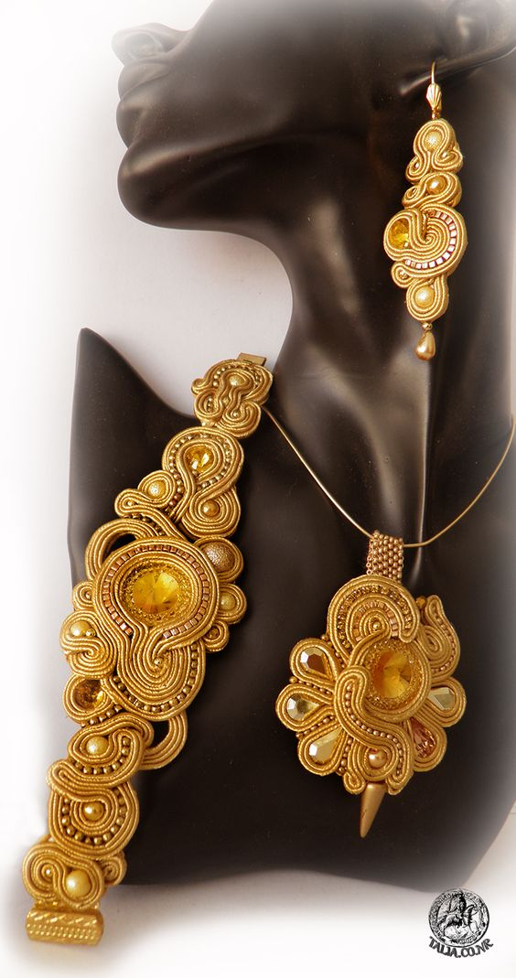 Yellow soutache set: