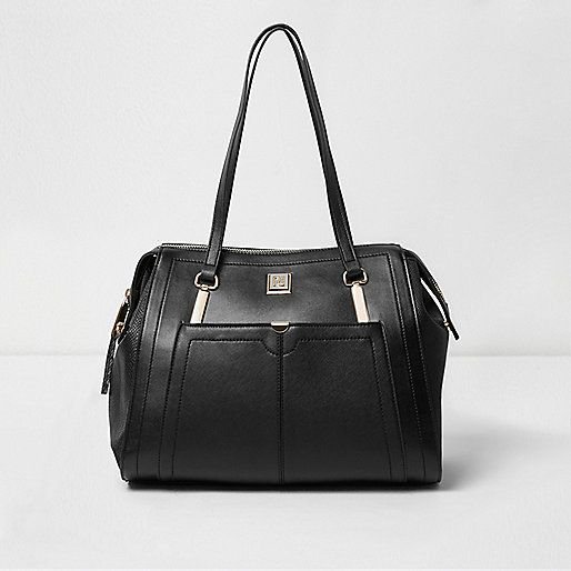 Black long strap shoulder tote handbag - shopper / tote bags ...