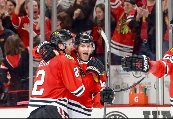 Kaner celebrates the game tying goal in the 1st period of game 6