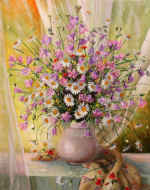 colorful pink flower painting: