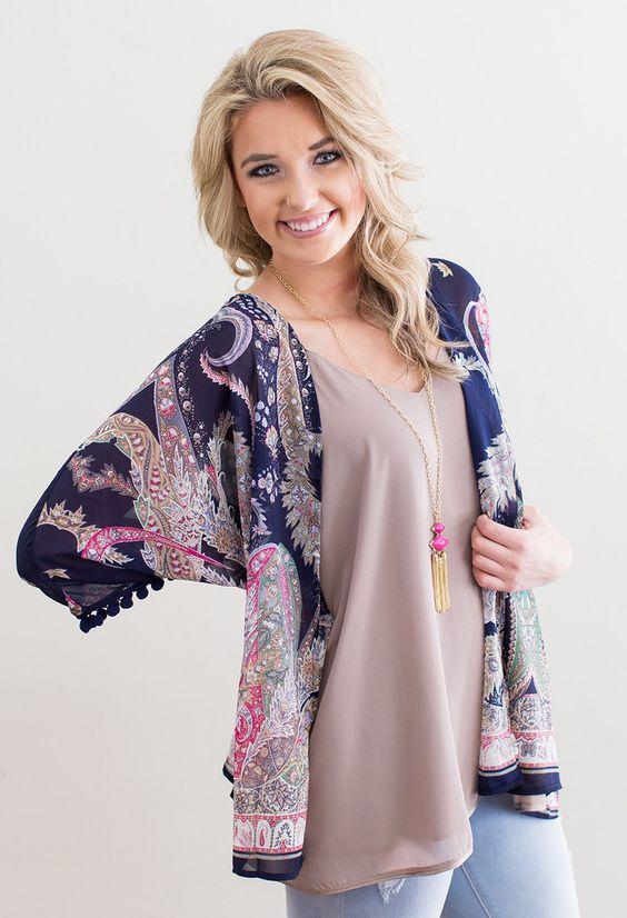 Like this paisley print kimono and I like that it has minimal fringe. I like fringe but not on tops/jackets