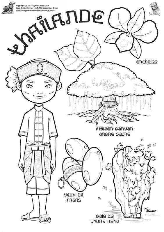 Coloriage enfant thai Hugo l'escargot thailande voyage
