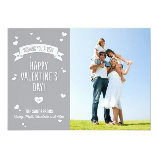 Modern Valentine's Day Photo Card in Silver Custom Announcements