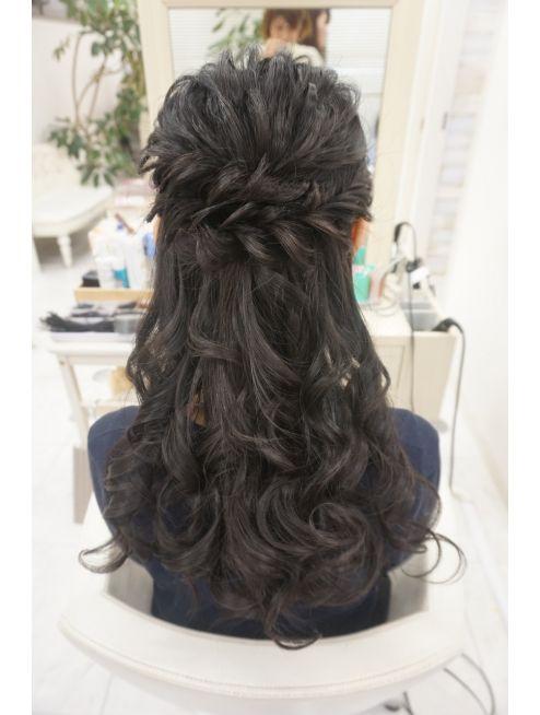 リサ 恵比寿 Risa 黒髪さんふんわりルーズハーフアップ ルーズ ハーフアップ 美しいヘアスタイル ヘアスタイル ロング