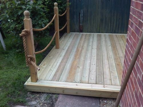 Rope fence decking for the home pinterest rope fence for Decking at end of garden