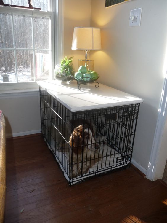 Large Crate Topper Black White Or Primed With Images Dog