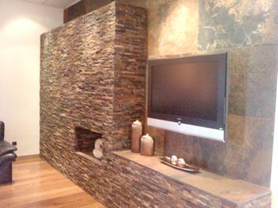 Diferentes tipos de revestimientos de paredes en piedra o - Salones decorados con piedra ...