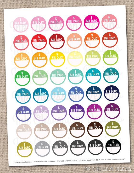 Bill Due Circles Planner Stickers Instant Download DIY Printable PDF